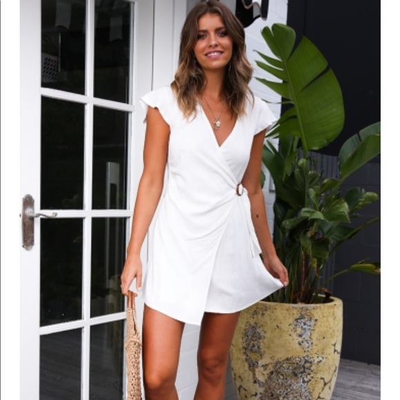 e3fe9ac7d3cd stelly Dresses | In The Sticks White Linen Wrap Dress | Poshmark